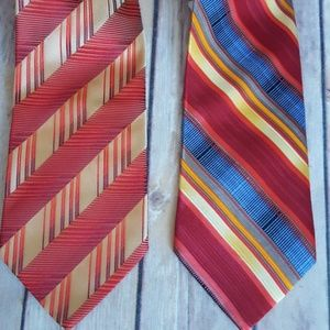 Pair of Men's 100% Silk Ties NWT Power Colors